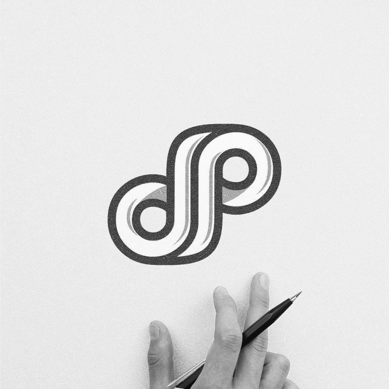 "Logomark. Merging of letter ""d"" and ""p""⠀"