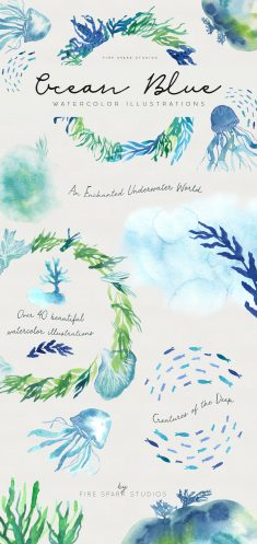 Ocean Blue Watercolor Illustrations