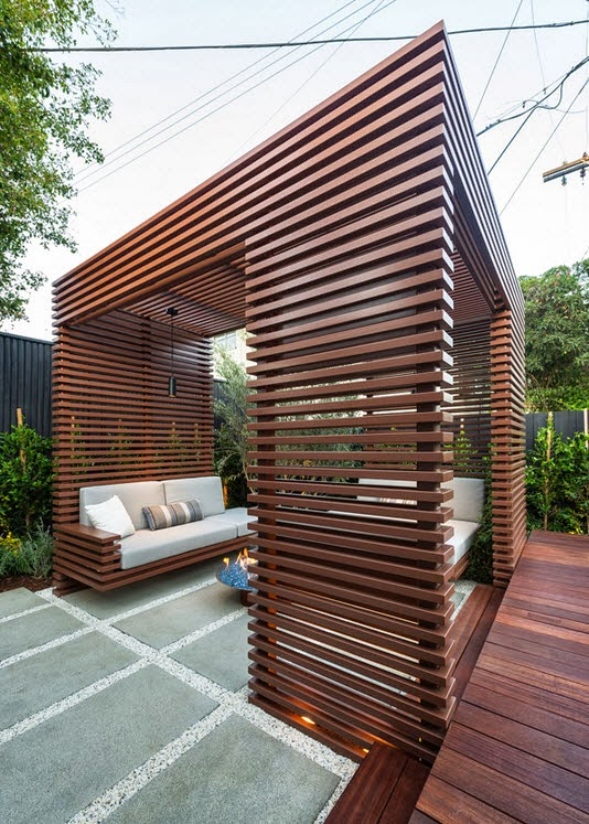 Design of a modern wooden terrace of a house in the city