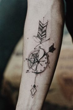Compass Tattoos of Man
