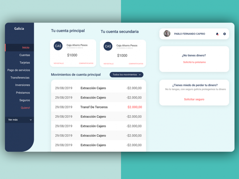 [Redesign] Galicia Home Banking