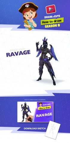 How to draw Ravage | Fortnite Season 7 tutorial