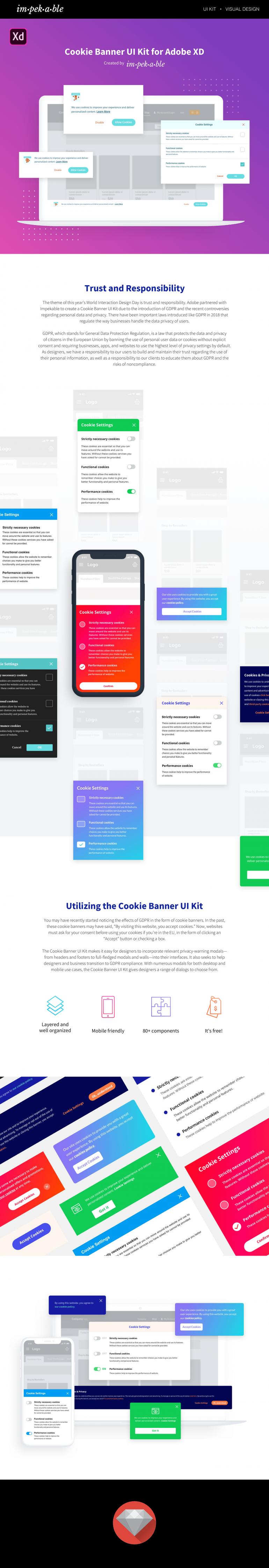 Cookie Banner UI Kit for Adobe XD