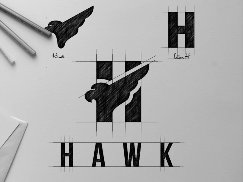 Hawk and Letter H Logo