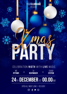 Realistic christmas party poster ready to print Vector