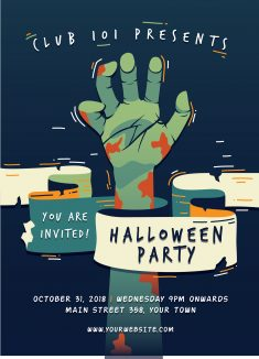 Terrific Halloween Party Poster With Flat Design