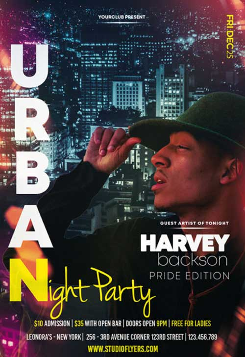 Urban Night Party Free Flyer PSD Template