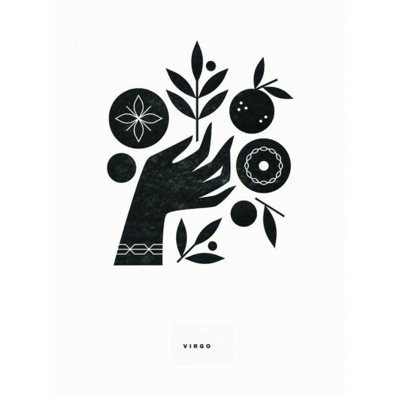 Virgo letterpress print by Katie Kirk
