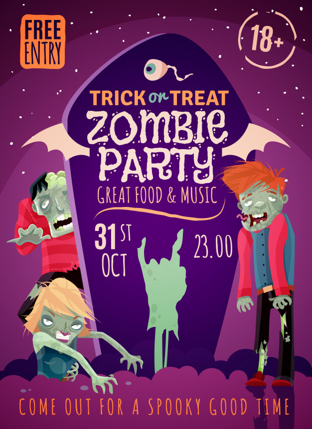 Zombie party poster Vector