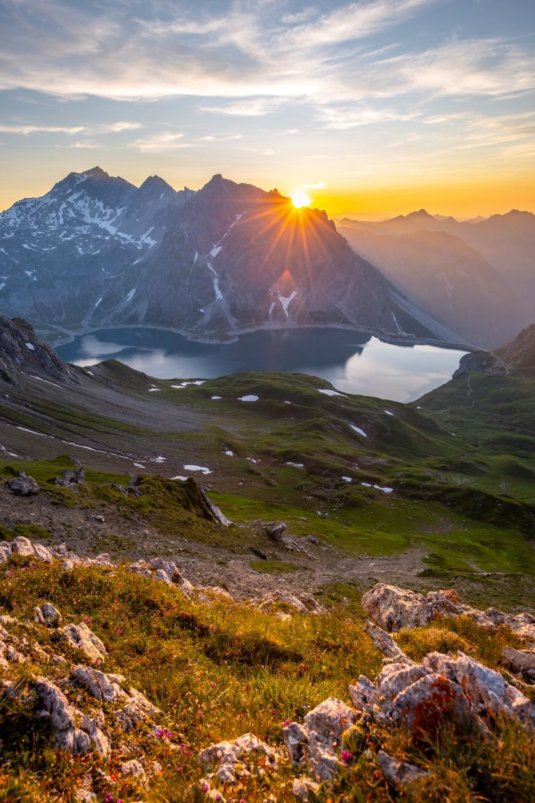 Sunset high above Lünersee, close to the border to Switzerland and Austria.