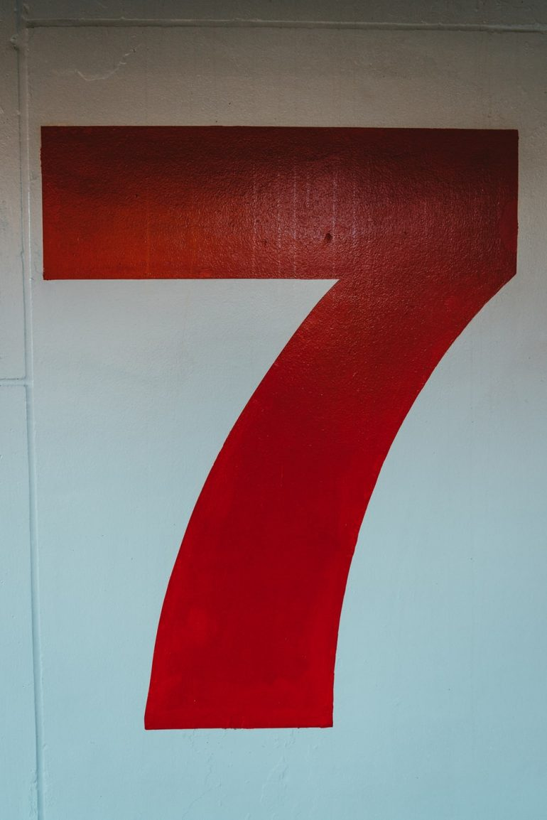 Red Number 7 Decor