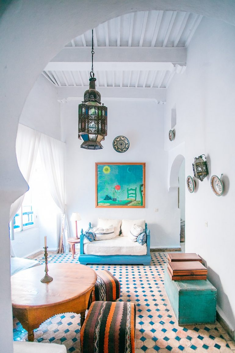 Colourful, accorded to local weather, touchable details in Moroccan interior