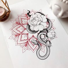 Snake Flower Tattoo Color