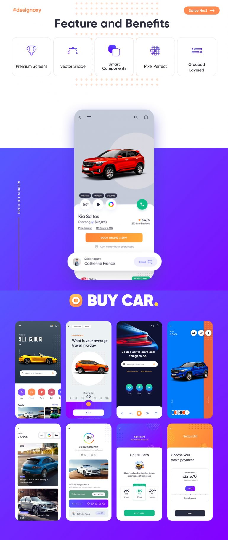 Carnow – buy rent and sell mobile app UI kit