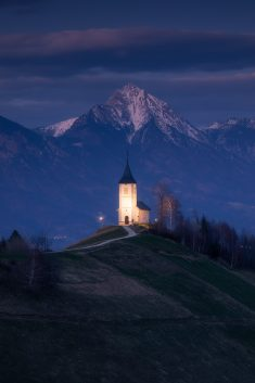 Blue Hour at Jamnik Church in Slovenia.