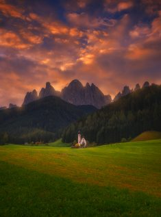 Crazy Sunrise at Santa Maddalena, italy.