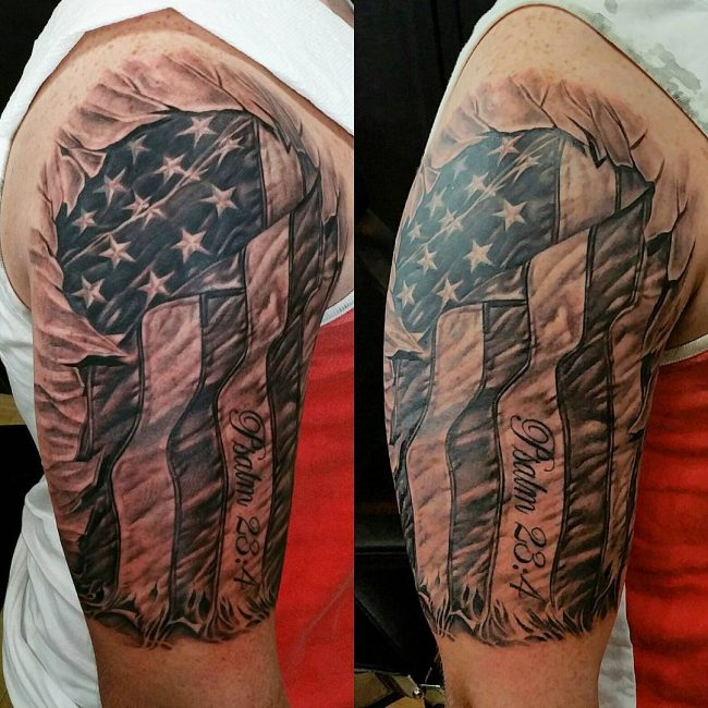 A Right Shoulder American Flag Tattoo