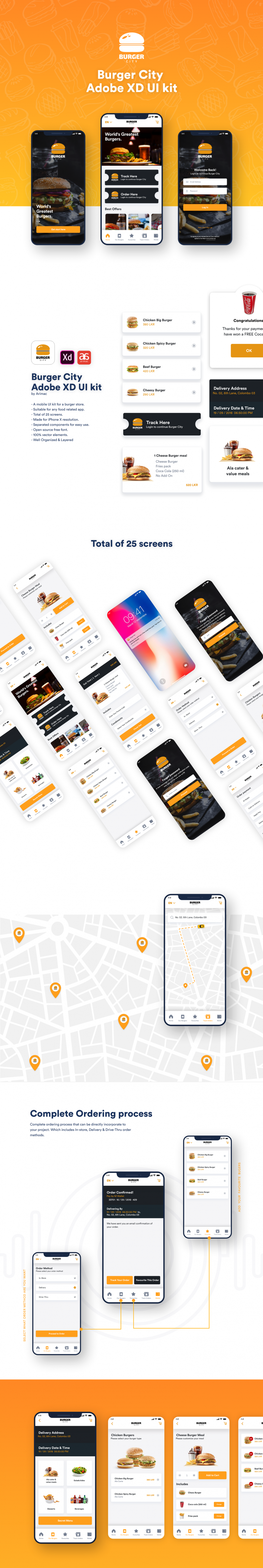 Burger City – Adobe XD UI kit