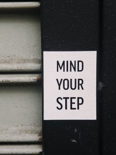 Mind Your Step Text Photo