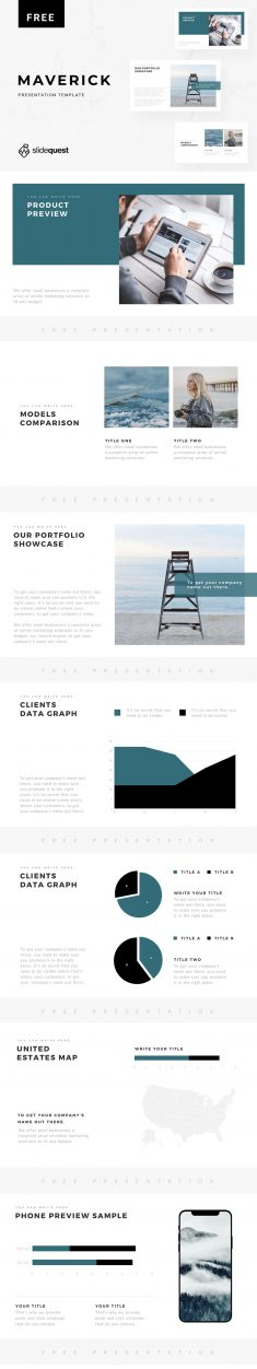 SLIDEQUEST: Maverick Free Minimal Presentation Template
