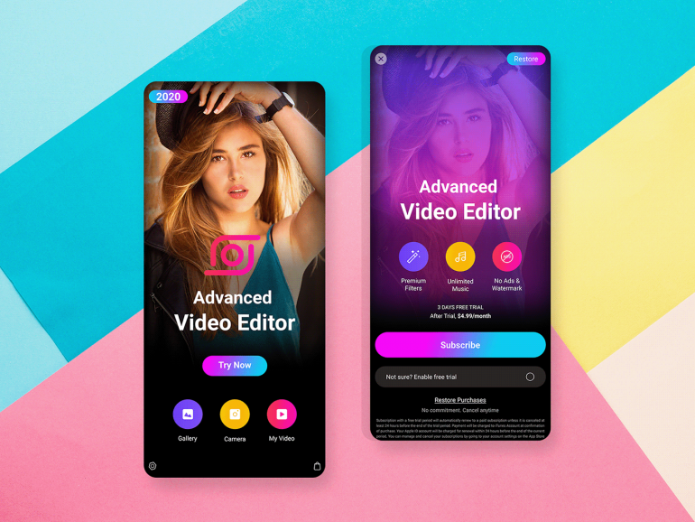 Video editor app design Purchase
