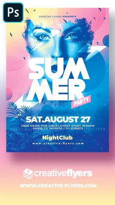 Summer Party Poster Template – Abobe Photoshop