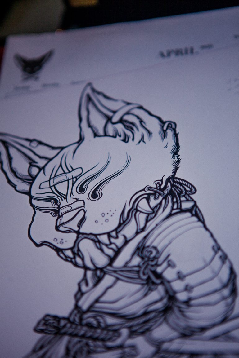 Ronin Cat. Black and white sketch *