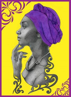 Purple Head Wrap BG by ErikaLillustrations