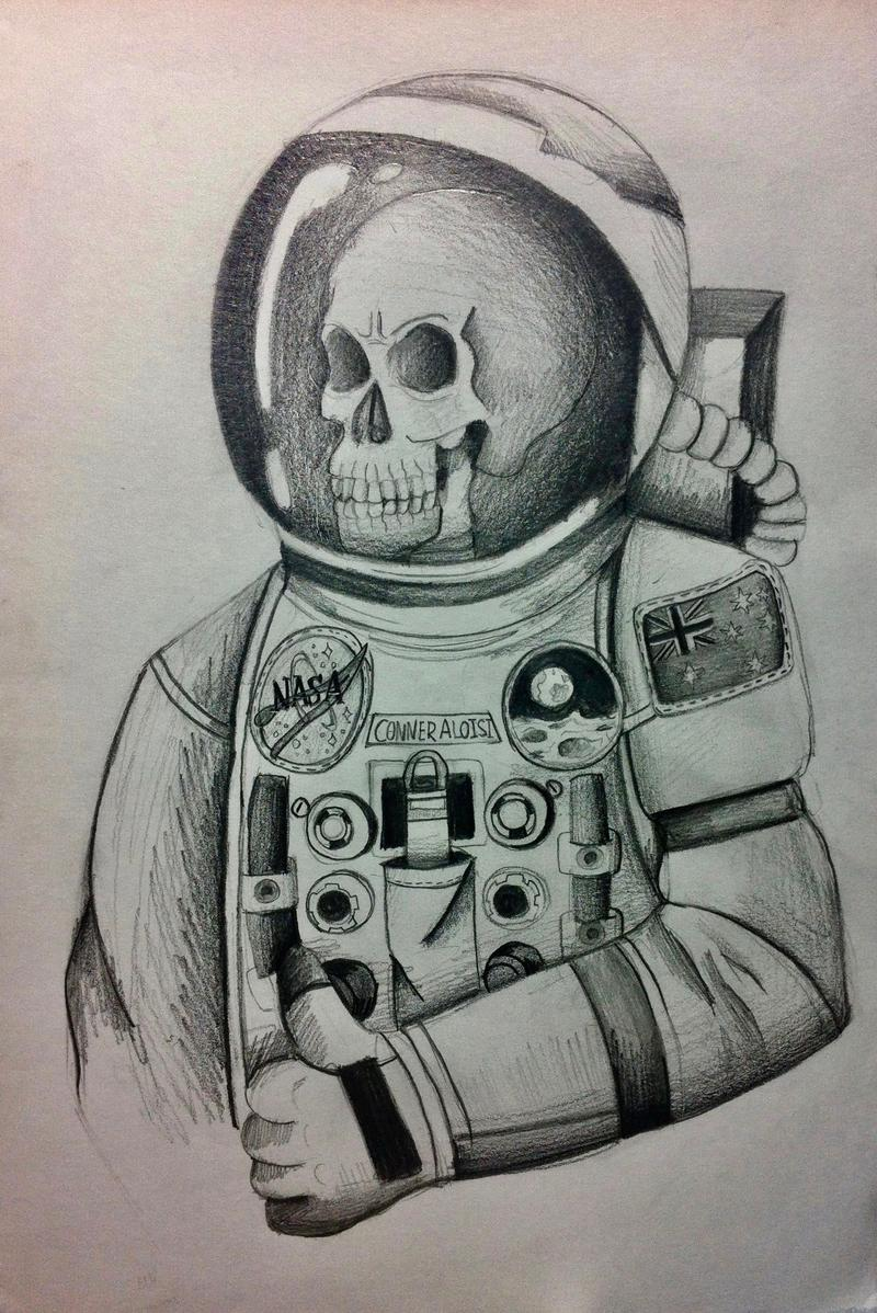 Skeleton Astronaut- Skeleton Drawing 1 by PickledTentacle