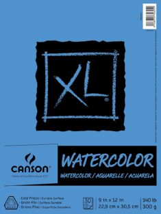 Canson (100510941) XL Series Watercolor Pad, 9″ x 12″, Fold-Over Cover, 30 Sheets