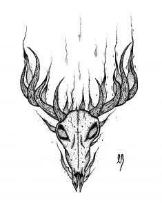 Flaming Deer Skull. by VasilisLam