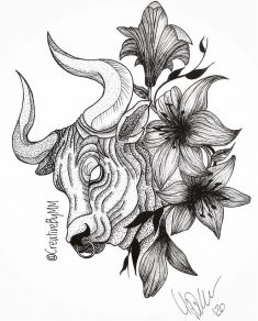 Taurus w flowers by CreativeByMM