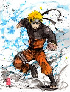 Naruto sumi and watercolor by MyCKs