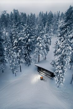 Winter grilling, Lapland, Finland
