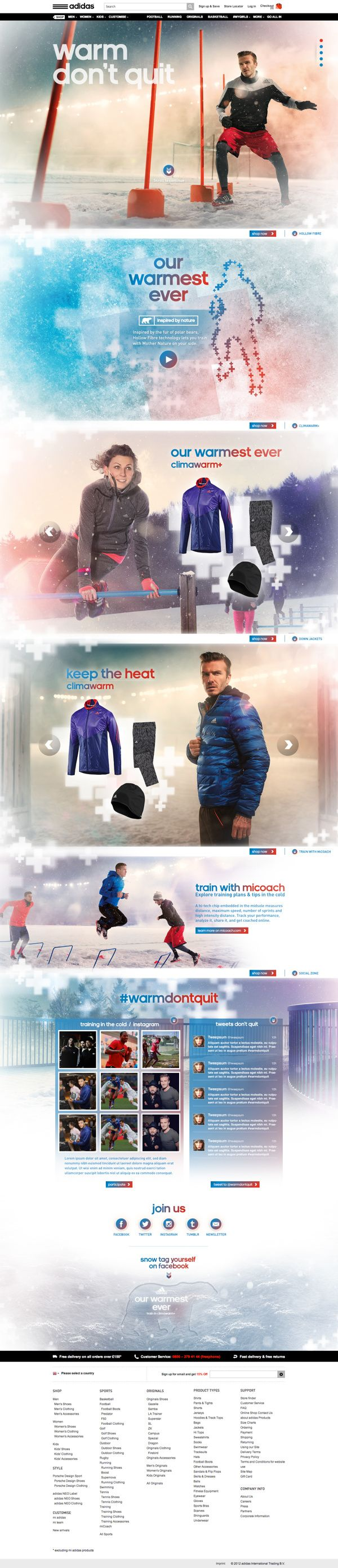 Adidas – Climawarm collection microsite
