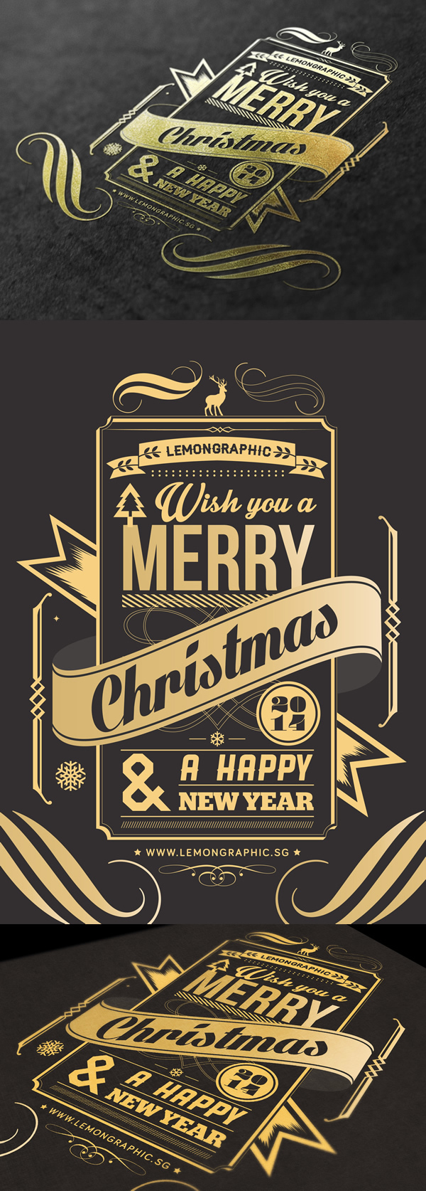 Christmas card typography gold stamp 2014