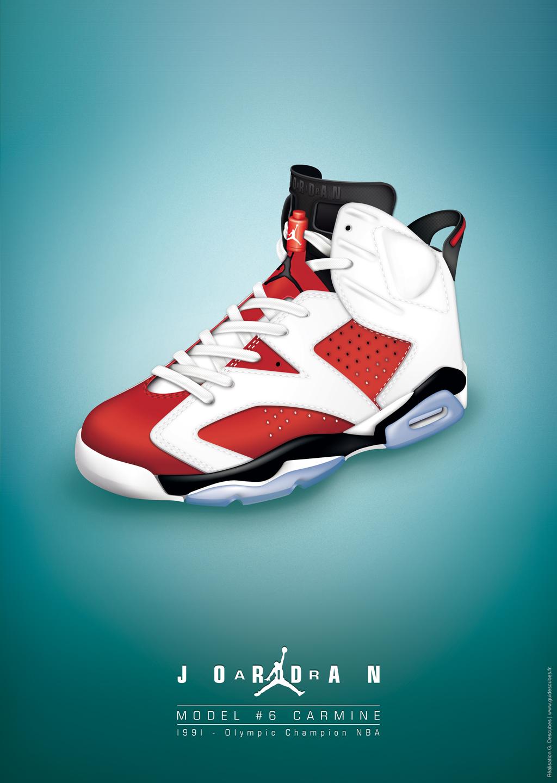 (projet personnel) Dessin du modèle de basket Nike Air Jordan sur illustrator. Déclinaison en mo ...