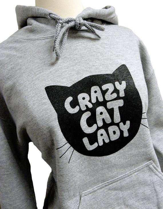 Crazy Cat Lady Hoodie  CAT Silhouette Grey by theboldbanana