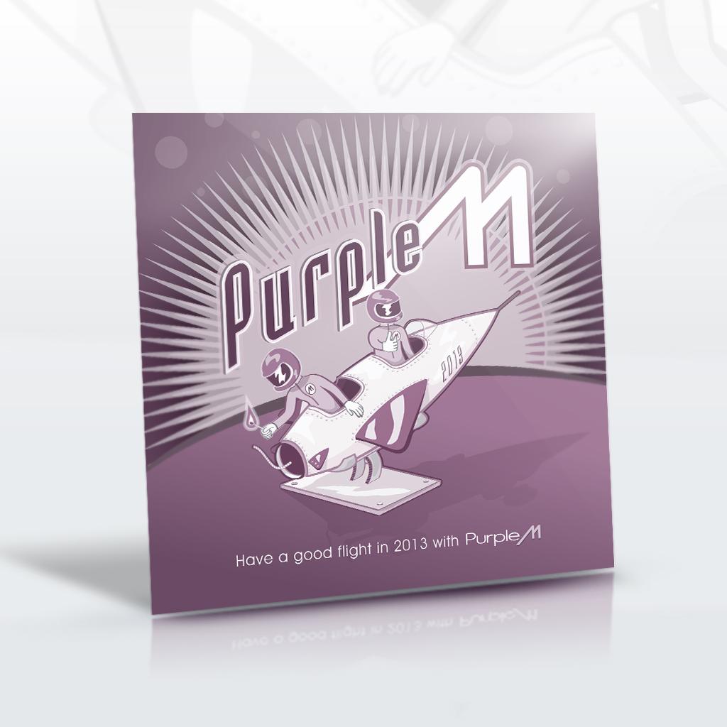 Carte de voeux 2013 : Carte de voeux, agence Purple M. Dessin sur Illustrator.