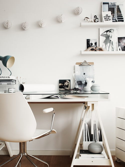 Workplace in white