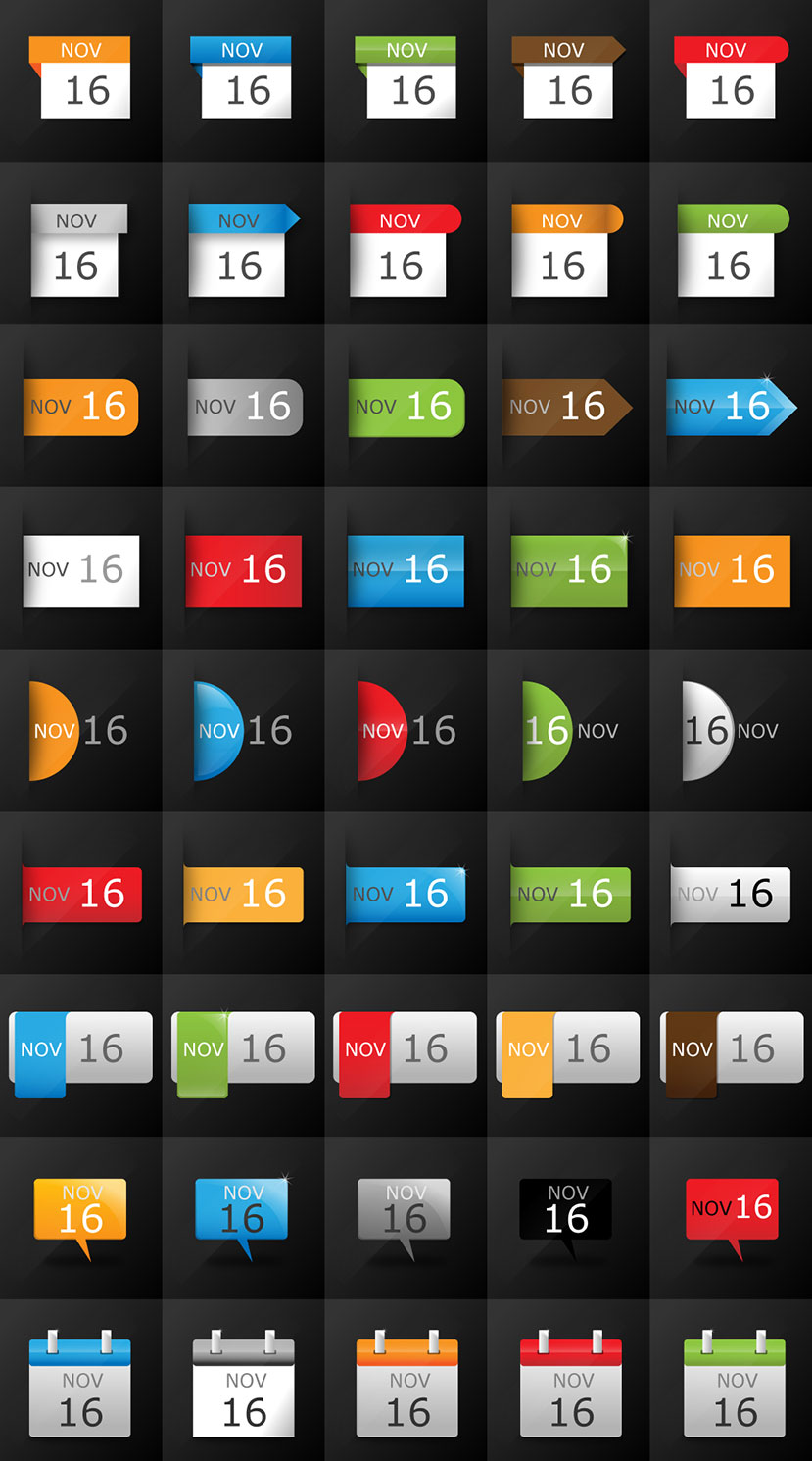 Huge Pack of Calendar Icons – Free Vector Art