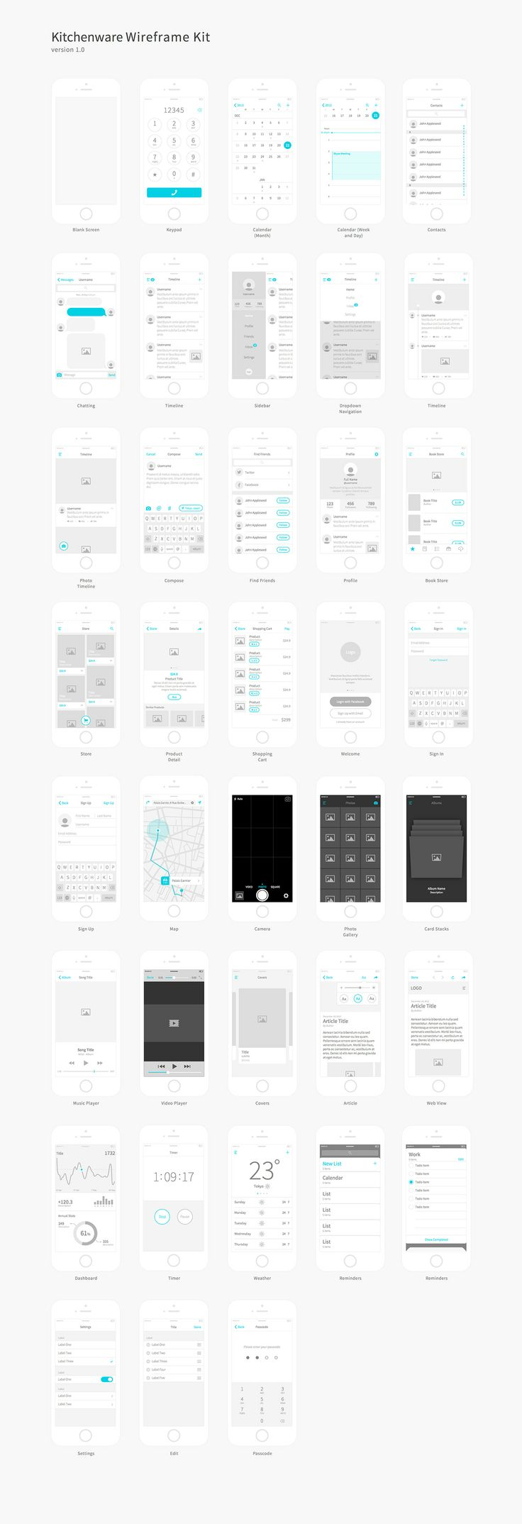 Kitchenware Pro – Wireframe Kit by Neway Lau