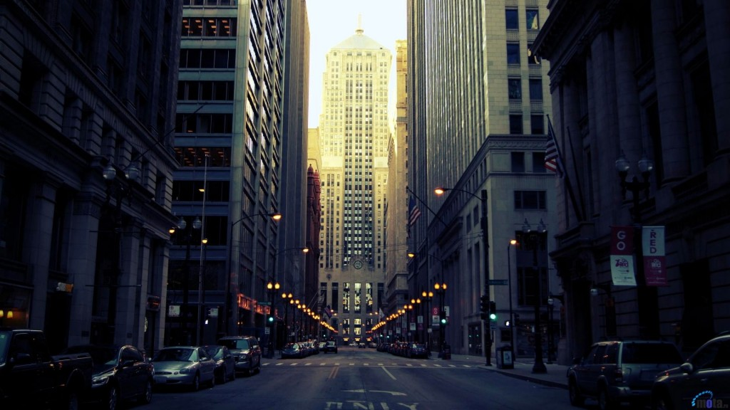 Chicago Board of Trade Building cities street lights wallpaper