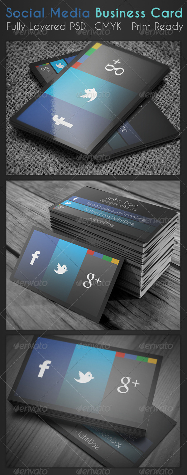 social media business card on inspirationde