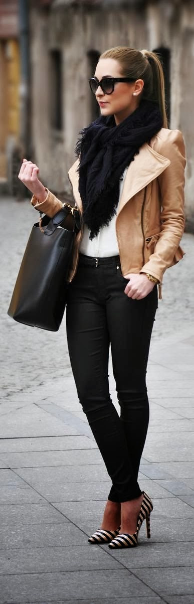 Fall Outfit With Leather Jacket, Black Scarf & Pumps
