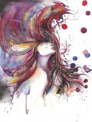 """Dreya Novak: Watercolor 2013 Painting """"Rooster"""""""