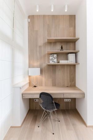 simple wood office nook