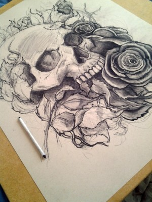 Skull and Roses Work by Robert Mangaoang