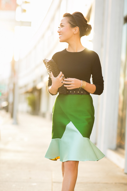 Winter Green :: Colorblock skirt & Brazil memories  : Wendy's Lookbook