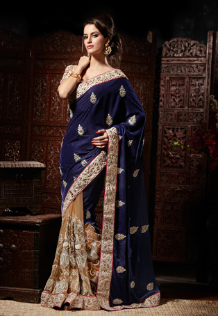 Blue and Light Beige Velvet and Net Half and Half Saree with Blouse Online Shopping: SHE10